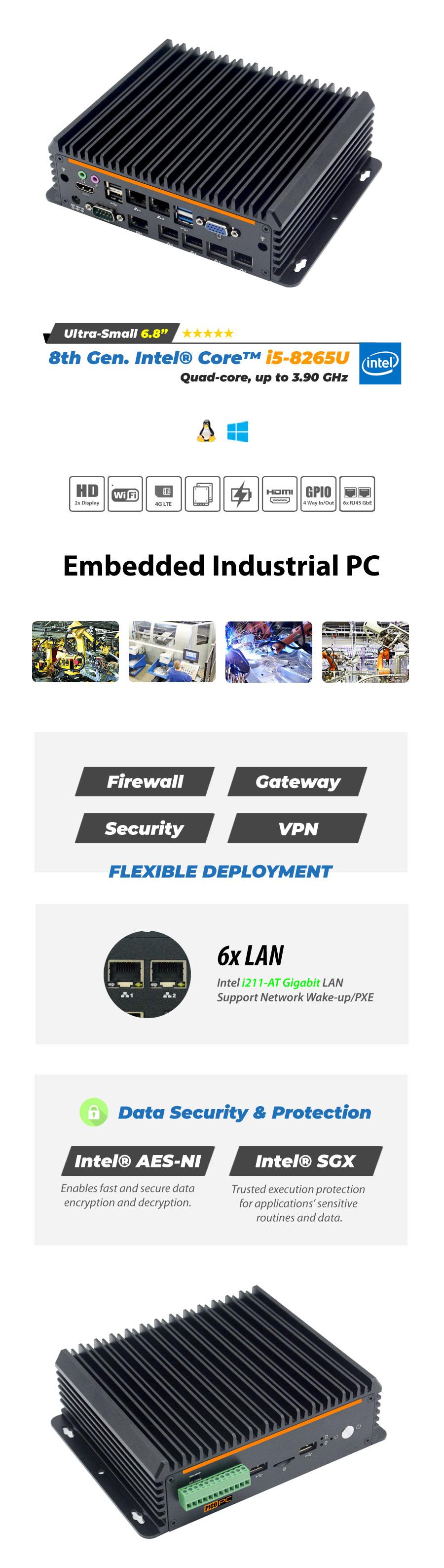 Intel® i5-8265U 6 LAN 4G Fanless Security Gateway - MNHO-085